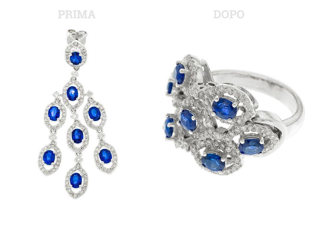Anello con diamanti e zaffiri